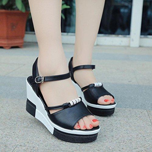 Open Toe Plataforma Sandalias Culater® Verano Zapatos De Negro Mujer qnYCwB