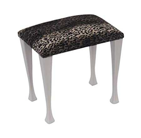 Snow Leopard Print Fabric Top Dressing Table Bedroom Stool with Modern  White Legs  Amazon.co.uk  Kitchen   Home e48acb53e