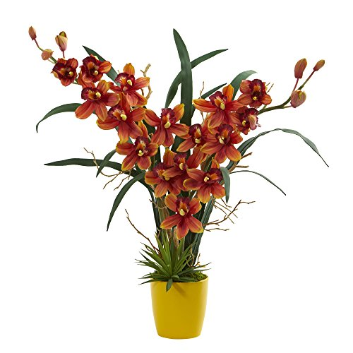 - Nearly Natural 1558-BG Cymbidium Orchid Artificial Plant Burgundy