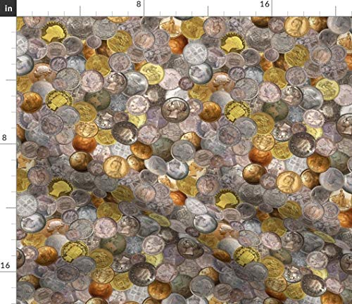 Spoonflower Steampunk Fabric - Steampunk Vintage Coins Gold Copper Silver Steampunk Victorian Coins Money Queen Treasure by Joyfulrose Printed on Modern Jersey Fabric by The Yard