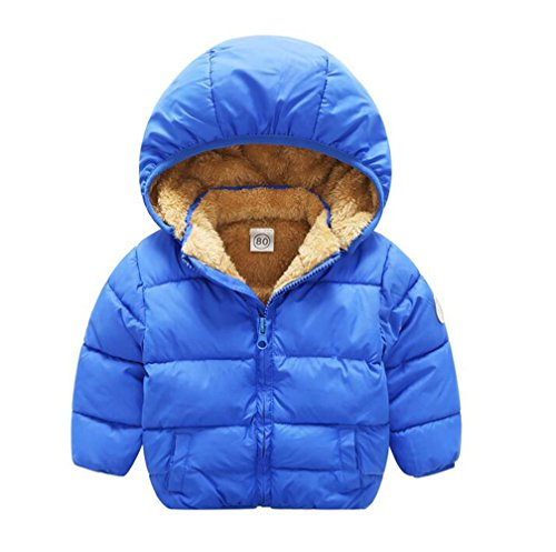 - Baby Boys Girls Winter Puffer Coat Unisex Kids Fleece Lined Jacket Hoodies Warm Outwear Overcoat Blue 100