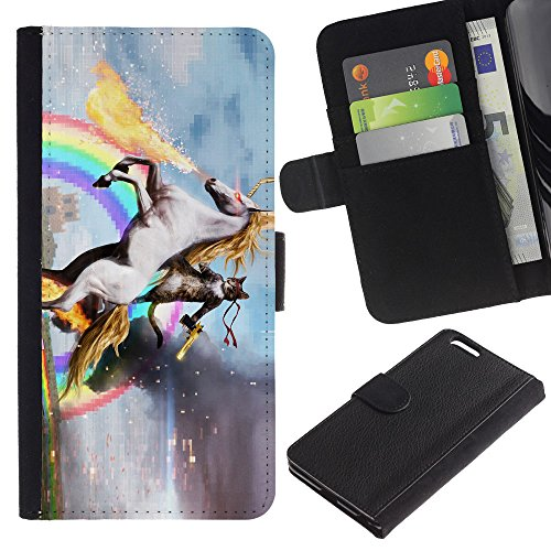 EuroCase - Apple Iphone 6 PLUS 5.5 - unicorn horse rainbow magical gold - Cuir PU Coverture Shell Armure Coque Coq Cas Etui Housse Case Cover
