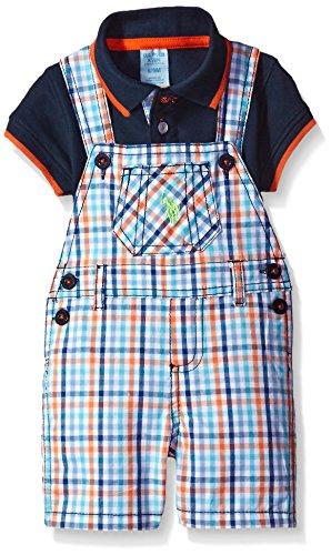 - U.S. Polo Assn. Baby Boys' 2 Piece Polo Shirt and Shortall Set, Plaid, 6/9 Months