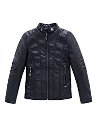 LJYH Boy's Stand Collar Faux Motorcycle Leather Jacket 3T-14T