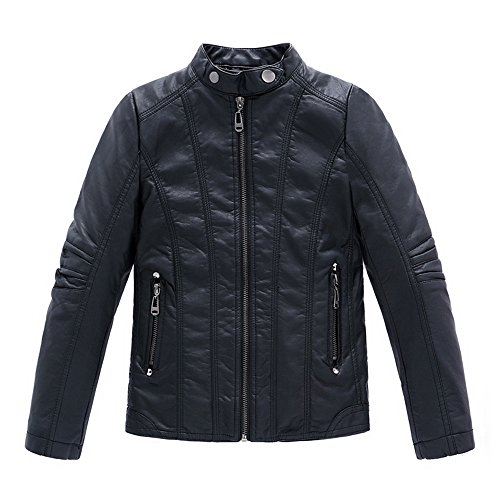 LJYH Boy's Stand Collar Thicken Faux Motorcycle Leather Jacket 3T-14T