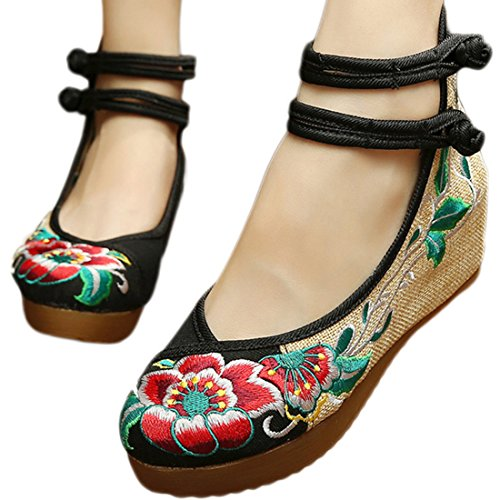 Strappy Floral Ankle YIBLBOX Strap Shoes Shoes Wedges Traditional Cloth Black Women's Toe Platform Chinese Embroidery Round zgg8fA