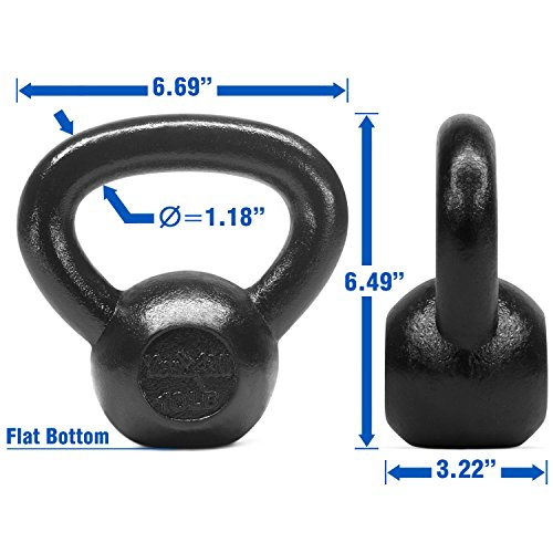 Yes4All Solid Cast Iron Kettlebell Weights Set – Great for Full Body Workout and Strength Training – Kettlebell 10 lbs (Black) by Yes4All (Image #2)