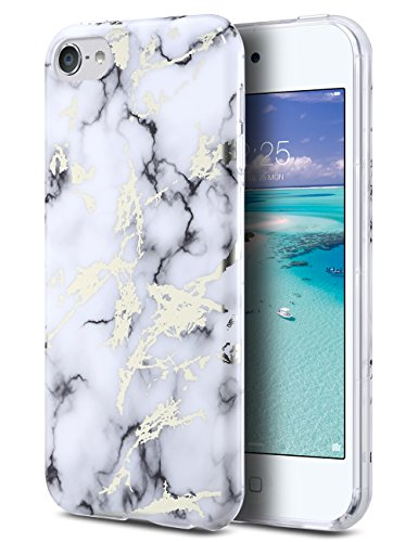 iPod Touch Case,iPod 6 Marble Case,ULAK CLEAR Case SLIM FIT Anti-Scratch Flexible Soft TPU Bumper PC Back Hybrid Shockproof Protective Case for Apple iPod Touch 5/6th Generation-Marble White