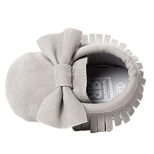 Baby Newborn Shoes,Crib Bowknot Tassels Shoes Toddler Soft Sole Sneakers Casual Shoes (3-6Months, Grey)