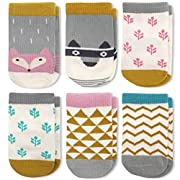 KoolHour Newborn 6 Pack Baby Girl's Boy's Cute Animal Fun Combed Cotton Non Skid Crew Socks with Grips for 0-6 Months Newborn Kids Gift
