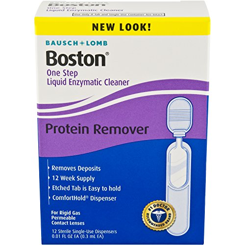 Bausch & Lomb Boston One Step Liquid Enzymatic Cleaner, Protein Remover, 0.01 Fluid Ounce, 12 Count (Contact Lens Liquid)
