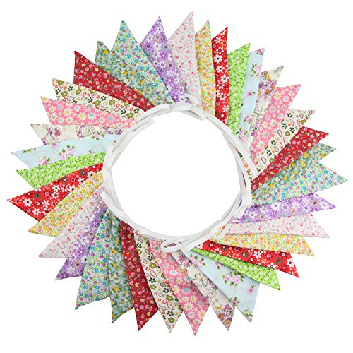 INFEI 10M/32Ft 36 Floral Fabric Triangle Flags Bunting Banner Garlands for Wedding, Birthday Party, Outdoor & Home Decoration (Multicolored)