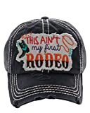KB JP Adjustable This Aint My First Rodeo Boot Rope Vintage Distressed Hat Cap (Black)