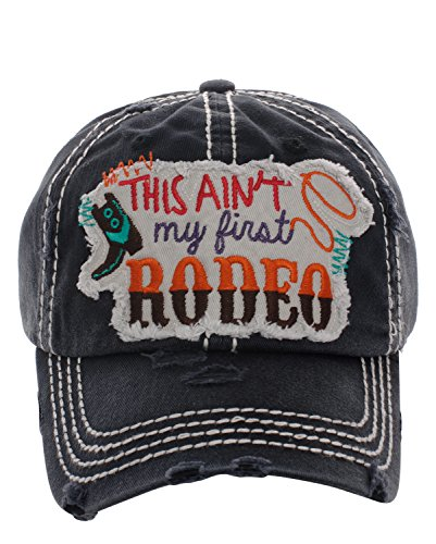 KB JP Adjustable This Aint My First Rodeo Boot Rope Vintage Distressed Hat Cap (Black) by KB