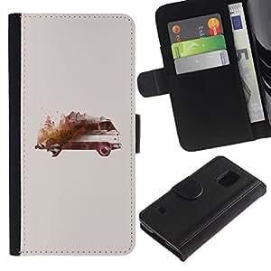 Bus Arte Acuarela Pintura- la tarjeta de Crédito Slots PU Funda de cuero Monedero caso cubierta de piel Para Samsung Galaxy S5 V SM-G900