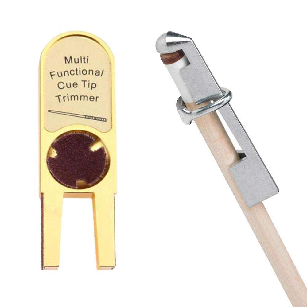 Gimiton Billiards Pool Cue Tip Shaper Tool Pool Cue Tip Scuffer Burnisher Cue Tip Trimmers Tapper with International Aluminum Pool Cue Clamp