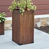 Rustic Pecan Brown Wood Patio Pot Tall Planter Outdoor Gardening Planting 15W x 15D x 30H in.
