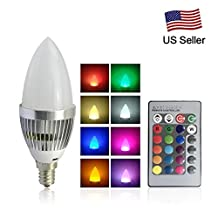 RCLITE E12 Candelabra 3W RGB LED Light Remote Control Color Changing Candle Lamp Bulbs AC 85-265V