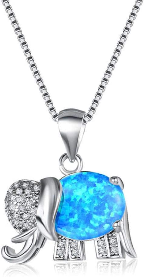 FISISZ Collar con Colgante de Elefante para Mujer Animal Plata 925 Joyas con Piedras Preciosas Adorno de Cuello Femenino de ópalo Azul, Azul
