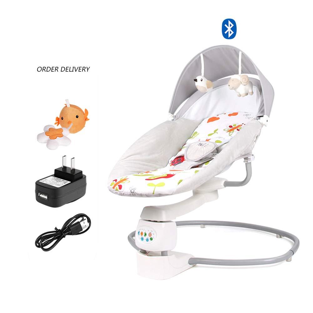 新生児から幼児の携帯用ロッカーの電気揺りかごのリクライニングチェア、赤ん坊の床の座席は赤ん坊の背骨、赤ん坊の振動の警備員が付いている5ポイント安全ベルトを保護します   B07SBW4Y2R