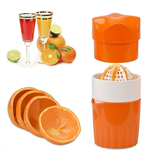 OKAYMART Squeezer, Manual Hand Juicer with Strainer and Container, for Lemon, Lime,Citrus(Orange Color) (Manual Orange Juicer Glass)