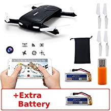 JJRC H37 Elfie (+Extra Battery) Wifi FPV Pocket Foldable Selfie Drone with Altitude Hold Smartphone Control Android iOS (Black)