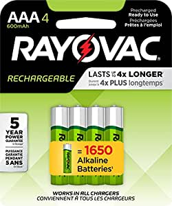 Amazon.com: RAYOVAC AAA 4-Pack RECHARGEABLE Batteries