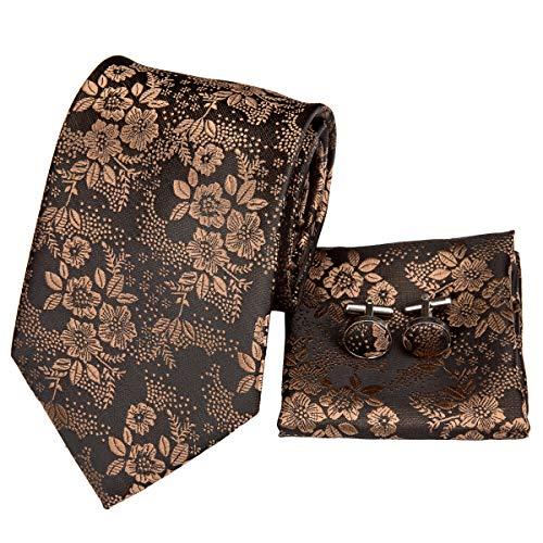 Hi-Tie Men's Brown Floral Ties Handkerchief Cufflinks set Jacquard Woven Silk Necktie Tie Set