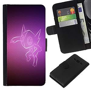 [Neutron-Star] Modelo colorido cuero de la carpeta del tirón del caso cubierta piel Holster Funda protecció Para Samsung Galaxy A3 [Purple Fox]