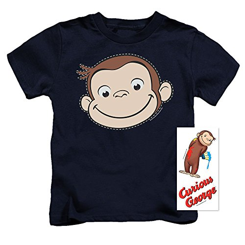- Curious George Stitched Face Juvenile T Shirt & Exclusive Stickers (Youth 5-6)