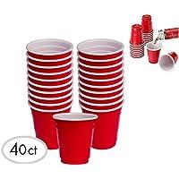 Juego de vasos de medida de fiesta mini Copa Roja de ALAZCO de 40 piezas (2 onzas) Divertido BBQ Picnic Fiesta navideña Tailgate Super Bowl Party