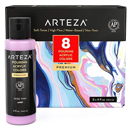 Arteza Acrylic Pouring Paint Set, 4 oz (118.3 ml) Bottles, Set of 8 Pastel Colors (Bronze, Yellow, Lavender, Blue, Sea Green, White, Pink), High-Flow Acrylic Paint, No Mixing Needed, Paint for Pouring on Canvas, Glass, Paper, Wood, Tile and Stones