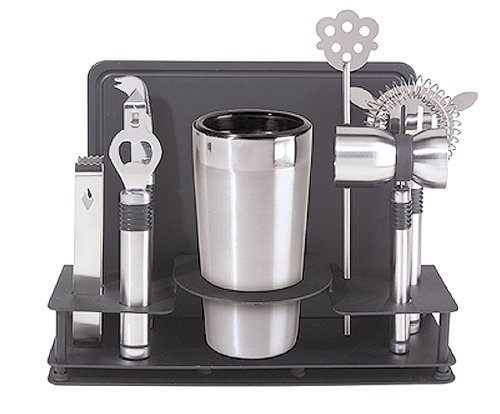 Oggi Pro Stainless-Steel 10-Piece Cocktail Shaker and Bar Tool Set (4 Units)