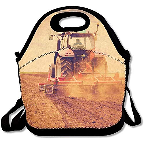 Farmer In Tractor Preparing Land For Sowing Photo Manipulated To Achieve Old Cross Processing Xpro Cute Lunch Tote Lunch Bag Office Reusable