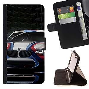 Momo Phone Case / Flip Funda de Cuero Case Cover - Carreras de coches Deporte Cicatriz de fibra de carbono Ruedas - LG G2 D800