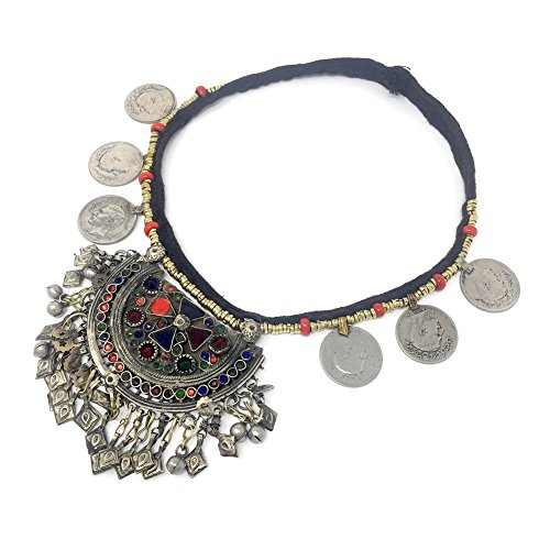 Turkman Statement Gypsy Choker Necklace with Metal Coins Pendant Medallion Bell Ornament (Exotica Pendant)