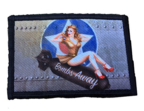 Away Pin Bombs (WWII Bomber Pin Up Girl Bombs AwayMorale Patch. Perfect for your Tactical Military Army Gear, Backpack, Operator Baseball Cap, Plate Carrier or Vest. 2x3