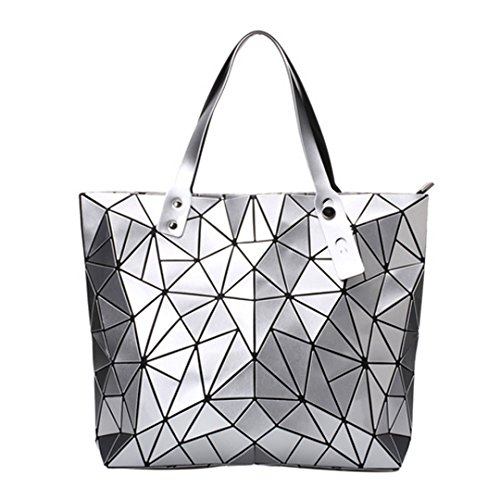 handle Purse Women Bag Pu Mega Tote Pattern Rhombus Sliver Bags Shoulder Fashion Handbag Top 7dI6qvw