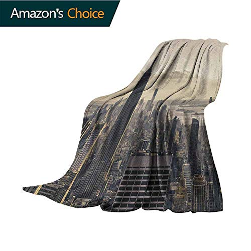 New York Fuzzy Blanket,Aerial View of NYC in Winter American Architecture Historical Popular Metropolis Microfiber All Season Blanket for Bed or Couch Multicolor,60