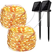 Solar String Lights, 2 Pack 100 LED Solar Fairy Lights 33...