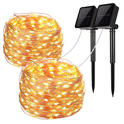 Solar String Lights, 2 Pack 100 LED Solar Fairy Lights 33 feet 8 Modes Copper Wire Lights Waterproof Outdoor String Lights for Garden Patio Gate Yard Party Wedding Indoor Bedroom Warm White by (Patio Party String)