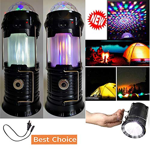 4 in 1 Rechargeable Camping Lantern, Portable Flashlight, Solar Powered Retractable Colorful Flame Lantern, Stage Light, Camping Tent lantern for Halloween Christmas Outdoor Camping Hiking Parties