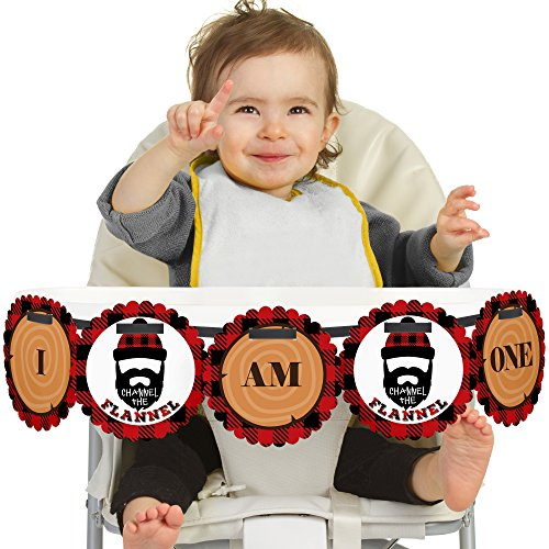 Big Dot of Happiness Lumberjack - Channel The Flannel 1st Birthday - I Am One - Buffalo Plaid First Birthday High Chair Banner