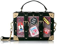 Structured luggage box with patches and luggage tag detail