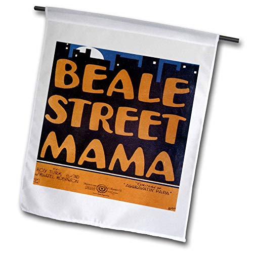 (3dRose fl_154823_1 Beale Street Mama City Skyline Vintage Song Sheet Cover Garden Flag, 12 by 18-Inch)