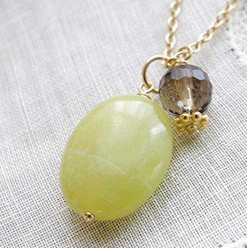 Jade Stone Necklace Smoky Quartz Gemstone Pendant 14kt Gold Filled Chain