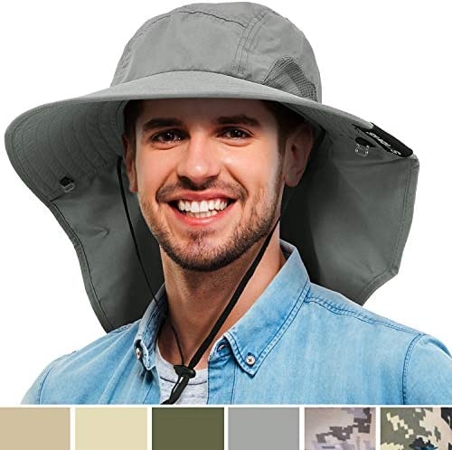 Tirrinia Mens Wide Brim Sun Hat with Neck Flap Fishing Safari Cap for Outdoor Hiking Camping Gardening Lawn Field Work