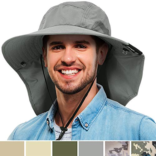 - Tirrinia Mens Wide Brim Sun Hat with Neck Flap Fishing Safari Cap for Outdoor Hiking Camping Gardening Lawn Field Work, Grey