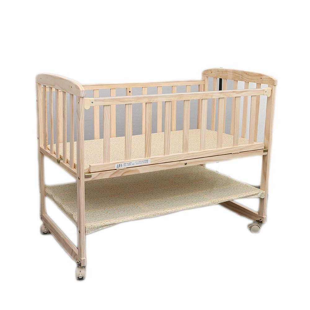 Baby Cot 2-Tier Solid Wood Crib Multi-Function Baby Bed Cradle Bed, Splicing, Variable Desk Bed Suitable for Babies to Sleep A Good Gift for Your Baby (Color : Natural, Size : 1046085cm) by Jdeepued