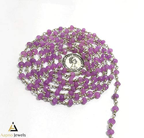 10 Feet Natural Purple Jade Gemstone Rosary Beads Chain, 4-5mm Rondelle Purple Jade Rosaries, Silver Plated Rosary Chain, Beaded Rosary Chain, Purple Jade Rosary Necklace